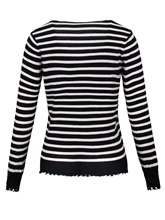 Stripe Color Block V-Neck Women's Sweater