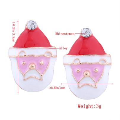 Christmas Imitation Pearl Rhinestone Alloy Trees Santa Claus Earrings