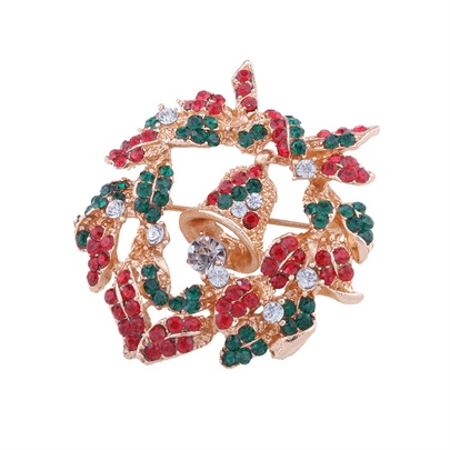 Bell Rhinestone Alloy Color Blocking Christmas Women's Brooche
