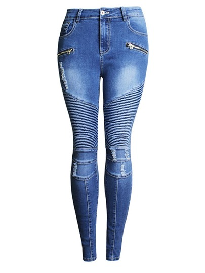 Pleated Hole Zipper Mid Waisted Womens Jeans 13010996