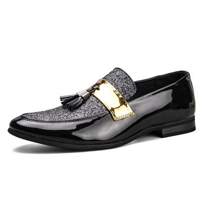 Fringe Slip On Men's Patent Leather Shoes