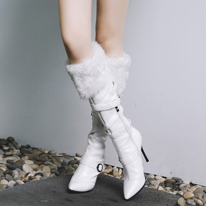 Plush Zipper Strappy High Heel Boots for Women(Plus Size Available)