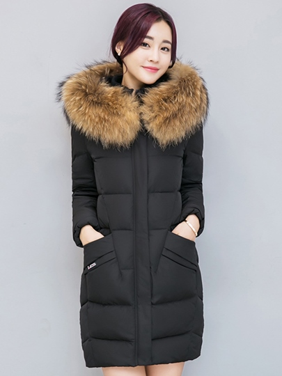 Faux Fur Hooded Plain Zipper Mid-Length Women's Overcoat