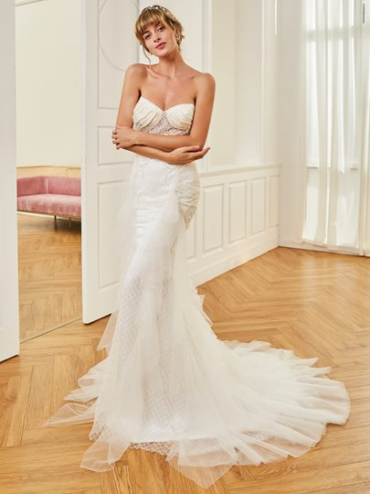 Sweetheart Pearls Mermaid Wedding Dress