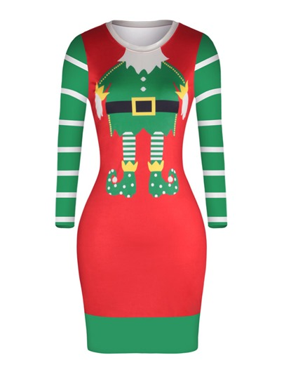 Printing Striped Christmas Women's Bodycon Dress