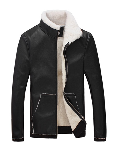 Stand Collar Slim PU Men's Jacket