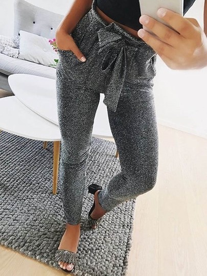 Sim Pleated Lace-Up Women's Casual Pants