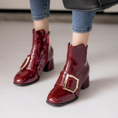 Plus Size Shoes Patent Leather Thick Heel Boots for Women