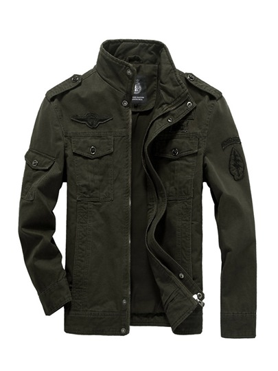 Stand Collar Cotton Solid Color Slim Fit Men's Casual Jacket