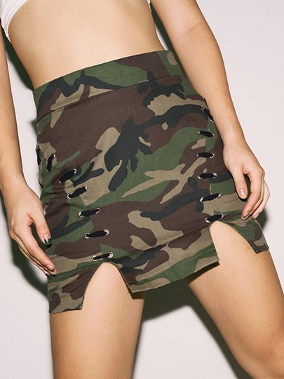 Camouflage Split Patchwork Women's Mini Skirt