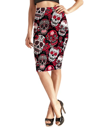 Slim Halloween Skull Floral Print Women's Skirt