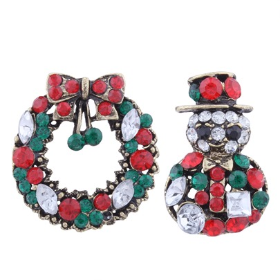 Garland Rhinestone Alloy Santa Claus Colorful Christmas Women's Brooches