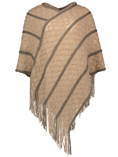Pullover Stripe Tassel V-Neck Women's Cape