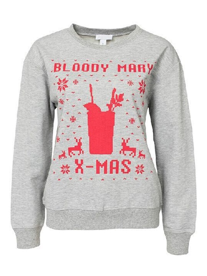Funny Christmas Long Sleeve Round Neck Pullover Women's Hoodie