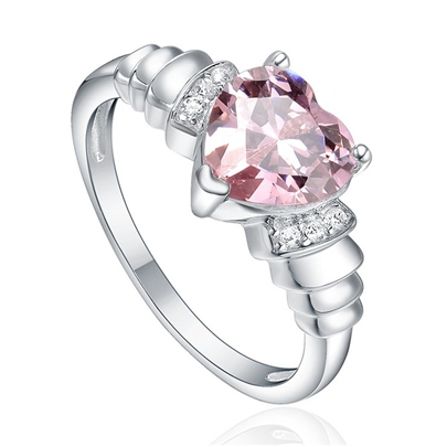 Pink Stone Diamante Heart Pure Silver Unique Ring