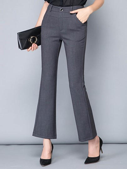 Asymmetric High Waisted Bellbottoms Women's Work Pants