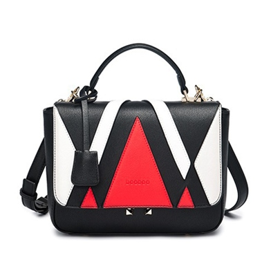 Trendy Color Block Women PU Tote Bag