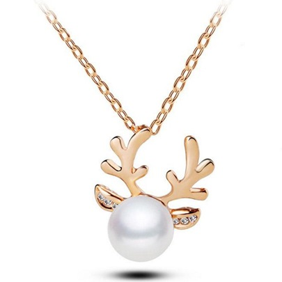 Christmas Diamante Imitation Pearl Elk Antlers Korean Style Necklace