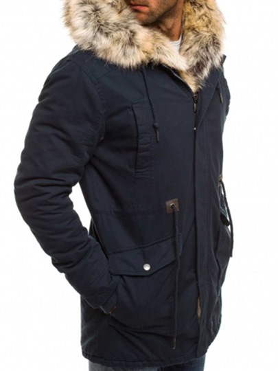 Shearling Thicken Warm Plain Men's Parka Jacket