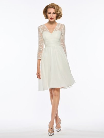 V-Neck 3/4 Length Sleeves Lace Mother Of The Bride Dress