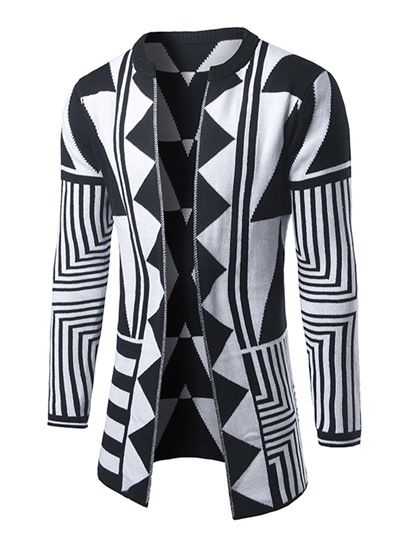 Round Collar Geometry Ethnic Printed Slim Fit Knit Men's Coat