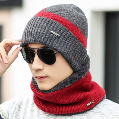 Geometric Neck Gaiter Knitted Warmth Men's Hats