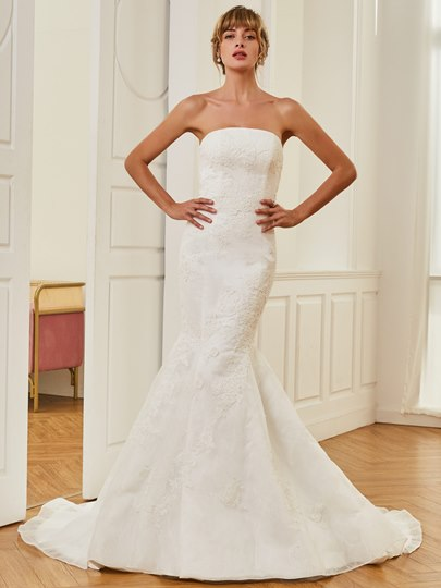 Strapless Appliques Court Train Mermaid Wedding Dress