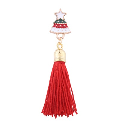 Wool Tassel Alloy Christmas Trees Bell Deer Gift Random Delivery Women's Brooches