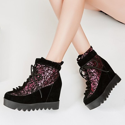 Height Increasing Heel Suede Sequin Platform Boots for Women