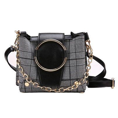Concise Plaid Woolen Women Cross Body Bag