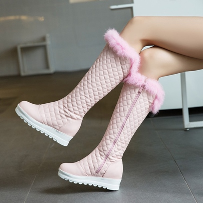 Plush Purfle Flat With Platform Boots for Women