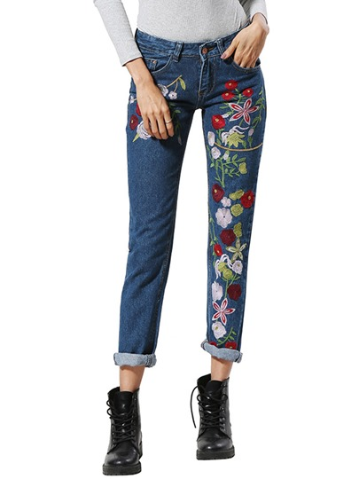 Plain Straight Floral Embroidery Women's Jeans