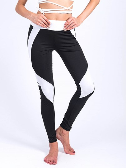 Plain Slim Color Block Women's Yoga Leggings