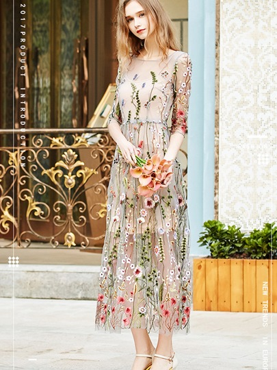 See-Through Summer Embroidery Women's Maxi Dress
