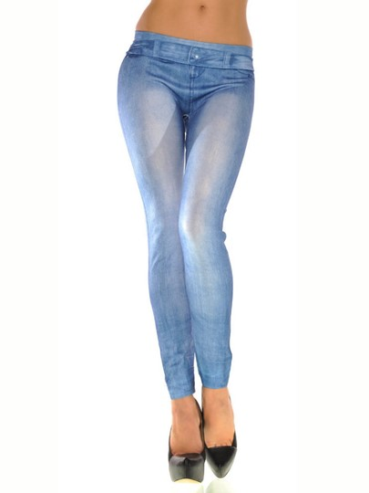 Elastic Light Blue Fake Jeans Women's Leggings