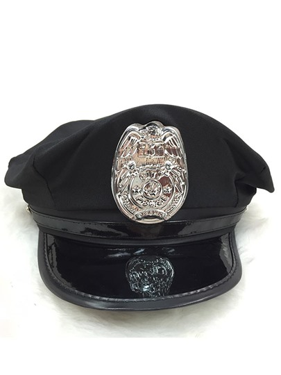Police Uniform Navy Hat Black Octagonal Hat Cosplay