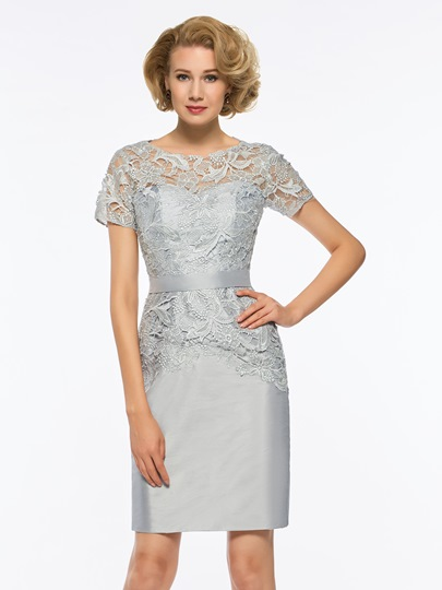 Scoop Neck Short Sleeves Lace Sheath Mother Of The Bride Dress