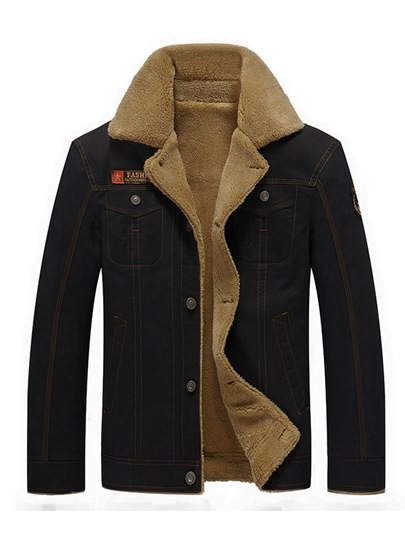 Lapel Thicken Warm Fleece Cotton Slim Fit Men's Casual Jacket