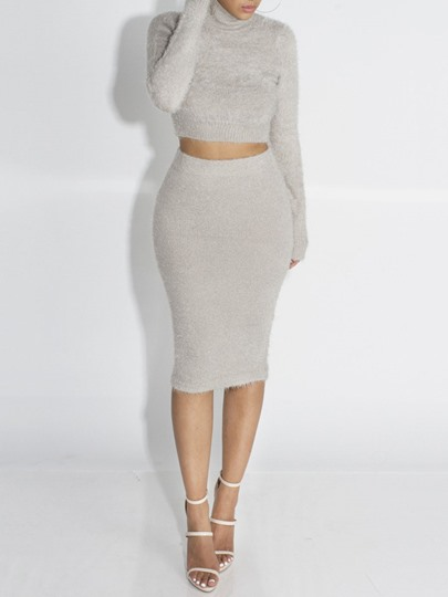 Winter Long Sleeves Mid Calf Sweater Women's Two Piece Dress