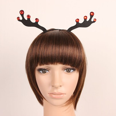 Red Rhinestone Elk Antlers Christmas Hair Accessories