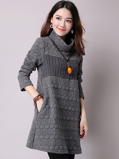 Turtleneck Long A-line Cotton Dress Women's Sweater
