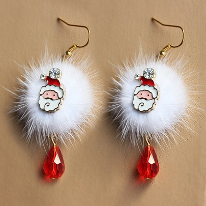 Christmas Pom Pom Santa Claus Imitation Pearl Earrings