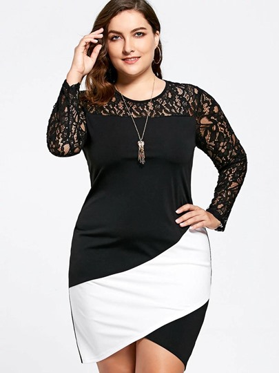 Lace Patchwork Plus Size Women's Bodycon Dress