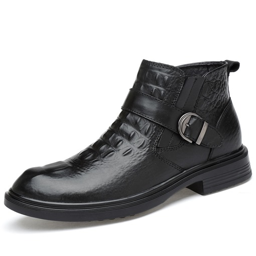 Alligator Pattern Buckle Black Dress Shoes for Men