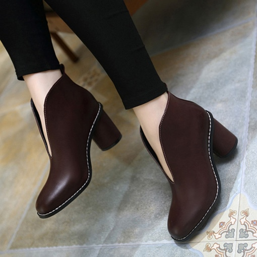 V Shaped Collar Chunky Heel Women's Ankle Boots