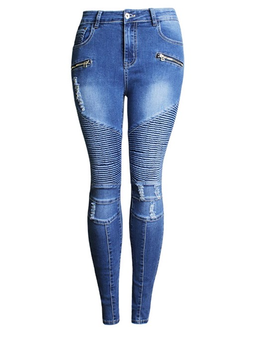 Pleated Hole Zipper Mid Waisted Women's Jeans
