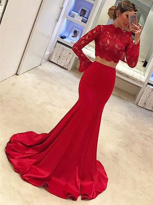 Two Pieces Mermaid Long Sleeves Red Lace Evening Dress