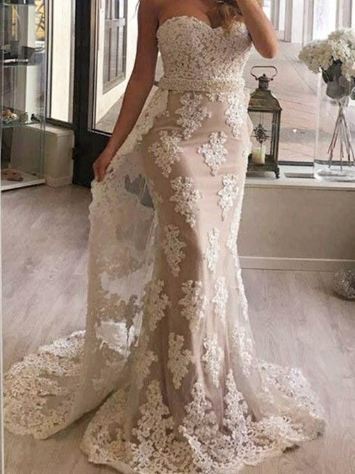 Trumpet Sweetheart Appliques Beading Lace Evening Dress