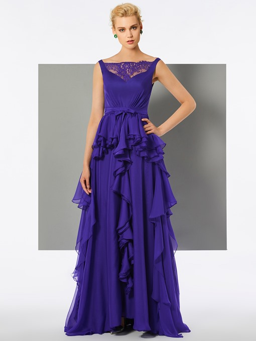 A-Line Straps Button Lace Ruffles Floor-Length Evening Dress