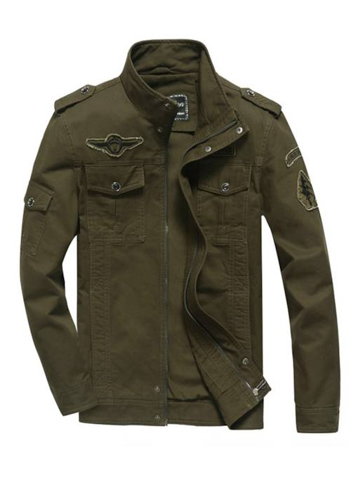 Stand Collar Outdoor Solid Color Slim Fit Men's Casual Jacket